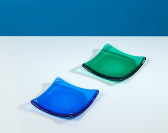 Ocean Blue and Emerald Green Trinket dishes