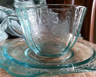 Decorative Vintage Pressed Glass Cup and Saucer Art Nouveau Design