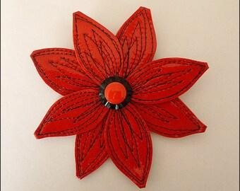 ENYA barrette flower leather varnished red black stitching
