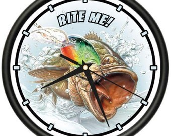 Bass Fisherman 1 Wall Clock Fishing Fish Large Mouth
