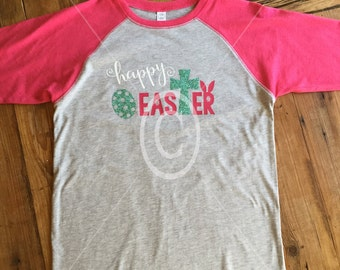 Girls Happy Easter Cross Raglan Pink Baseball Shirt