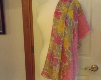 Lovely Large Floral Scarf, Pink Yellow Green White, Large Scarf, Spring Scarf, Summer Scarf, Beach Wrap