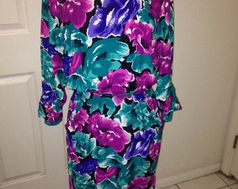 Purple and Blue floral Dress 1980's