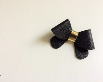 "Black and gold leather ""Helen"" bow - small - headband - alligator clip"