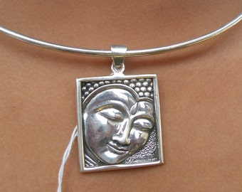 Budha carved pendant silver 925