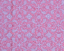 Floral Pattern Hand Stamped Fabric Block Printed Fabric by Yard Pink Fabric Cotton Voile Fabric Indian Cotton Fabric Cloth Fabric Handmade