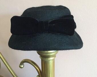 Vintage Dark Charcoal Wool Hat by Talbert