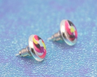 Earrings Studs Polymer Clay Confetti Abstract