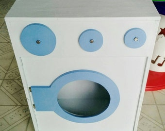 Kids solid wooden toy washing machine