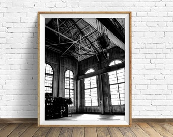 """black and white photography, large art, printable, art, instant download printable art, modern, contemporary, industrial, rustic - """"Rafters"""""""