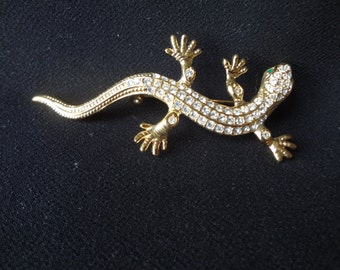 Roman Lizard Goldtone Brooch Pin with Sparkling Rhinestones