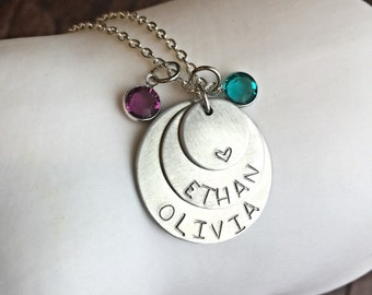 Hand Stamped Mother's Layered Necklace