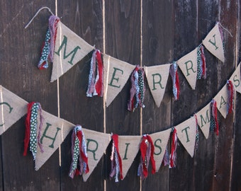 Merry Christmas Banner, Holiday Banner, Burlap Banner, Rag Tie Banner, Home Decor, Christmas Decor, Custom Banner