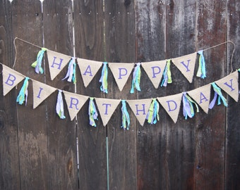 Happy Birthday Banner, Girl Birthday, Bright Colors, Polka Dots, Spring Colors, Teenage, Burlap Banner, Rag Tie Banner