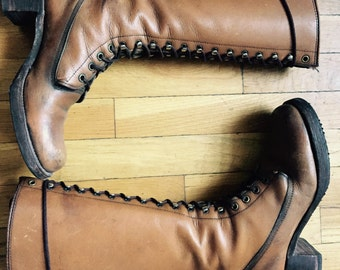 Women's 1975 Vintage Black Label Frye #8320 Brown Leather Lace-up Boots Size 8B