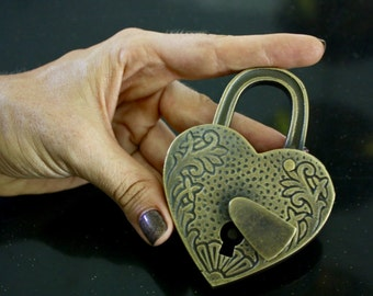 Love Heart Lock Engraved Antique Brass