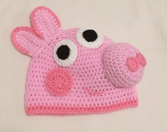 Pink pig crocheted hat with 3D nose and ears // Pig dress up // Great kids gift // Pig fans