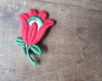 Flower Applique Vintage Embroidered Tulip Applique Choose ONE