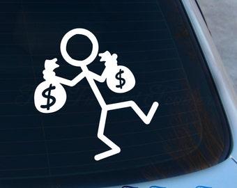 Single Rich Stick Figure Decal - Stick Family Sticker - Stick Family Parody - Funny - Macbook - Car Decal