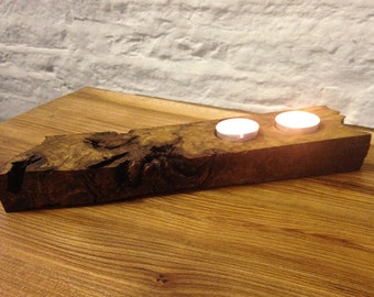 Beautiful Unique Oak Burr Wood Tealight Holder - stunning addition to any home and a fantastic present for Christmas, wedding or birthday