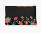 Black and Orange Flowers Zippered Clutch. Floral Studio Bag. Pencil Case. Zippered Purse. Small Pouch. Large Pouch. Zippered Pouch.