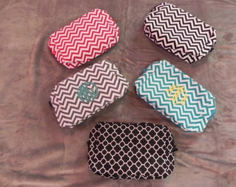 Chevron Cosmetic Bag with embroidery
