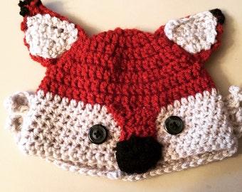 Crochet Fox Hat & Diaper Cover 0-3 months