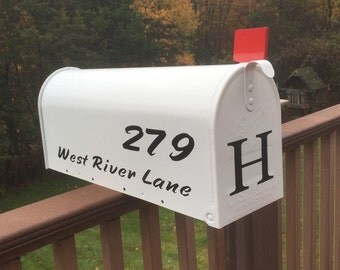 Mailbox - White mailbox personalized, with street address and monogram