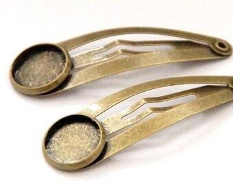 10 hair grips / 12 mm cabochon / bronze colors