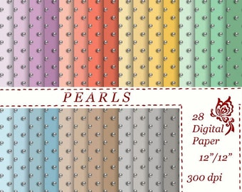Pearls Digital Paper scrapbooking Instant download pearl pattern circle Personal and Commercial use