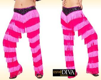 Fringe pants - Serena Brava, Salsa fringe pants, Latin fringe pants, Salsa fringe pants, Latin dance costume, Yulia fringe pants