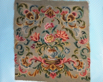 Old vintage floral needlepoint