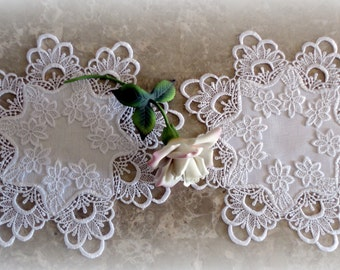 """12"""" Lace Doilies SET of 2 Decadent White Delicate Round"""