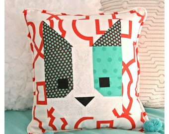 Kitty Cat pillow, decorative pillow hand made quilted