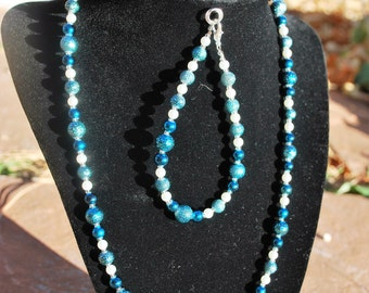 Blue and Silver Jewelry Set