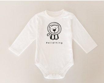 Cute Baby Onesie, Little Lion Onesie, Animal Bodysuit, Modern Baby Onesie, White Onesie, Handmade, Black White, Gift for Boy, Baby Romper