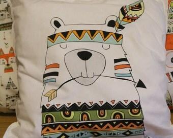 Cute indian bear pillow, nursery pillow, bear throw pillow, woodland nursery decor throw pillow,