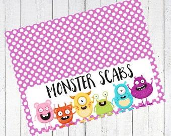 monster scabs halloween bag topper printable - Monster Scabs Bag Toppers Printable