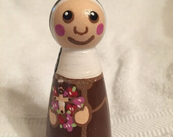Saint Therese of Lisieux peg doll ornament