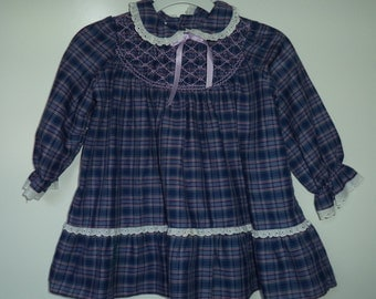 1950's plaid boho peasant dress//  Hand smocked gypsy grunge// Vintage Polly Flinders// Baby girl toddlers size 6- 12 mos to 2 T