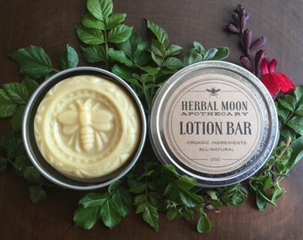 Organic Lotion Bar • solid lotion in eco-friendly tin • massage bar • all natural, cruelty-free beeswax