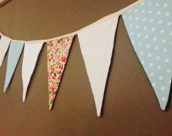Fabric bunting for childrens room or birthday party, little girls bedroom or nursery, vintage linen, country wedding, eco