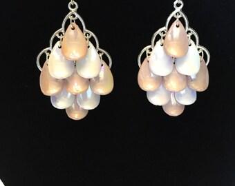 Pink and white mermaid earrings