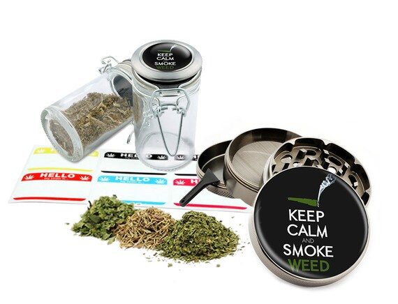 "Keep Calm Smoke Leaf - 2.5"" Zinc Alloy Grinder & 75ml Locking Top Glass Jar Combo Gift Set Item # 50G21916-4"