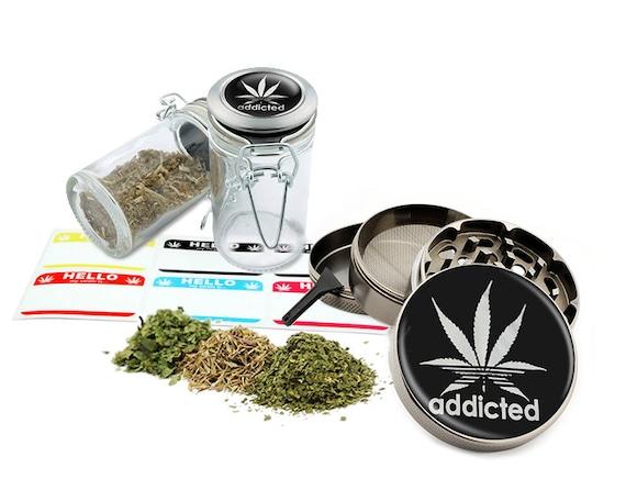 "Addicted - 2.5"" Zinc Alloy Grinder & 75ml Locking Top Glass Jar Combo Gift Set Item # G50-7915-1"