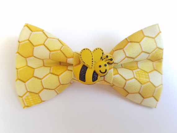 Honeycomb Bee Bow Tie for Cat or Small Dog Collars, Matching Velcro Collar, 100% Sales Goes to Feeding Feral Cats