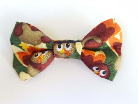 Thanksgiving Turkey Bow for Cat or Small Dog Collars, Matching Velcro Collar 100% Sales Donated to Feeding Feral Cats Read in Bio