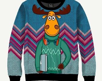 Cool Elk, Moose - Men's Women's Sweatshirt | Sweater - XS, S, M, L, XL, 2XL, 3XL, 4XL, 5XL