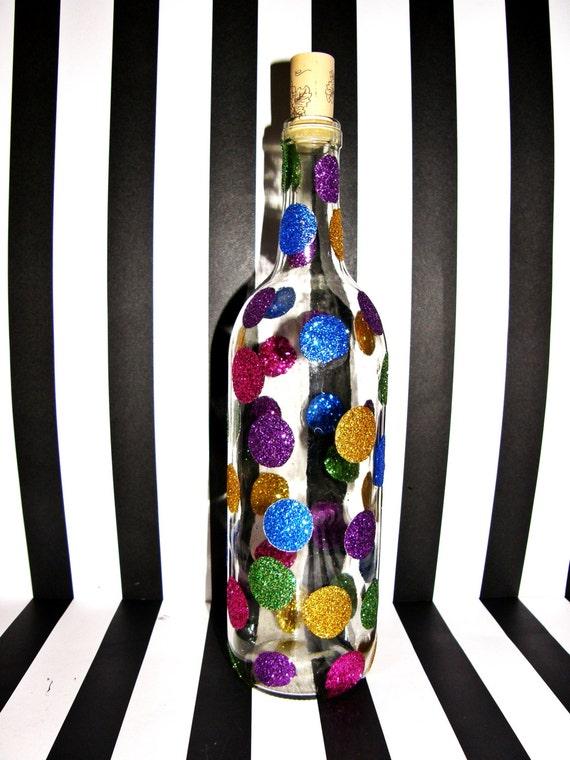 Glitter polka dot wine bottle barware wine bottle part for Decorating wine bottles with glitter