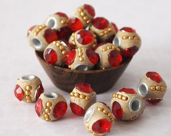 8 Kashmiri Beads Round Handmade Clay Ethnic Beads Ochre Red Size 11 x 13mm Hole 3mm